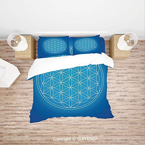 SCOXIXI Bed Cover Set Flower of Life Grid Pattern Consisting of Types Overlapping Circles Theme (Comforter Not Included) Soft, Breathable, Hypoallergenic, Fade Resistant]()
