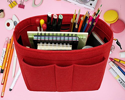Felt Insert Fabric Purse Organizer Bag, Bag Insert In Bag with Zipper Inner Pocket Red M by LEXSION (Image #4)