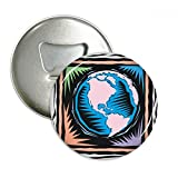 Mysterious Blue Earth Mexican Element Engraving Round Bottle Opener Refrigerator Magnet Pins Badge Button Gift 3pcs