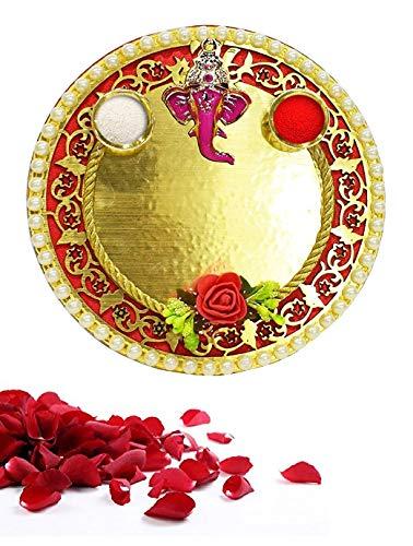 Lords Plate Prayer (Karwa Chauth/Karva Chauth Special Decorative Puja/Pooja Thali/Platter with Lord Ganesha and Roli/Rice for Hindu Temple Rituals, Mandir Temple Accessory - Diwali Gift,Pujan, Deepawali Decoration)