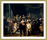 Alonline Art - The Nightwatch Rembrandt Gold Framed Poster (Print on 100% Cotton Canvas on Foam Board) - Ready to Hang | 18''x16'' | Oil Painting Print Oil Paintings Prints Frame Framed Decor