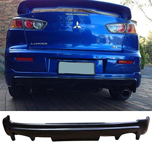 Rear Bumper Lip Fits 2008-2015 MITSUBISHI LANCER | PP Black Rear Lip Spoiler Splitter by IKON MOTORSPORTS | 2009 2010 2011 2012 2013 2014