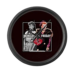 CafePress - I Love Lucy Monday Vs. Friday - Large 17 Round Wall Clock, Unique Decorative Clock