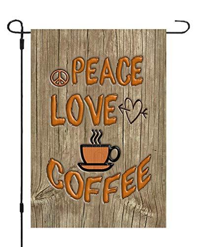 Peace Love Coffee Garden Banner Flag 12x17 Yard Decor Heart Mug Made in USA