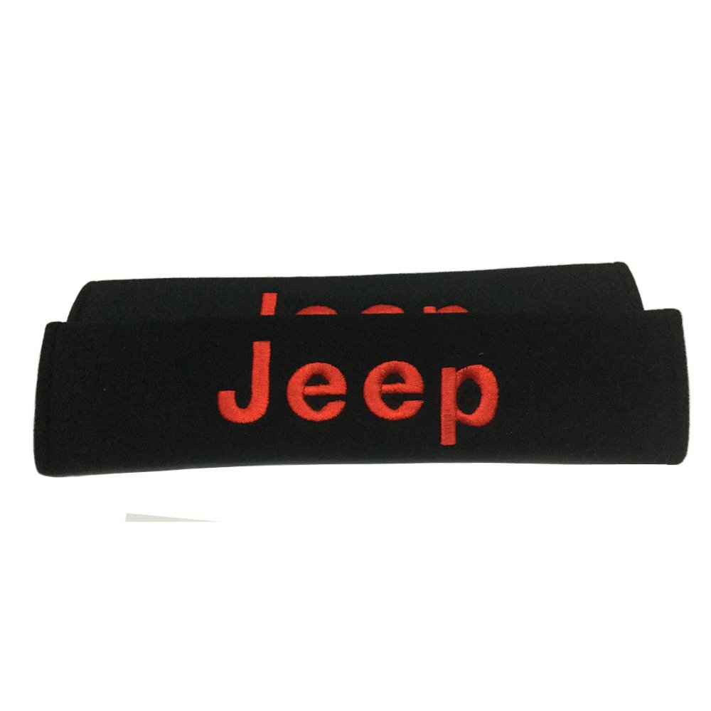 New 2 Pad Car Jeep Seat Belt Covers Shoulder Pads Red Embroidered Wording Cushion Suitable Seat Belt Decoration Fit for Jeep Car Model Design Putih
