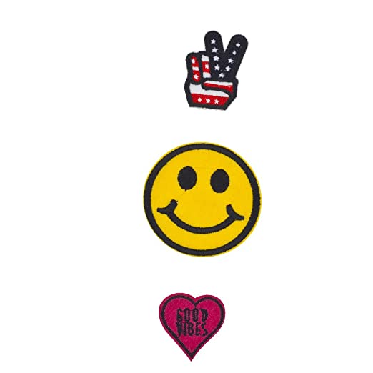 Amazon Lux Accessories Peace Sign Smiley Face Good Vibes Patch