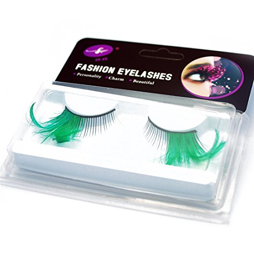 GAMT Deluxe Party Stage Dance Costume Feather False Eyelashes Eye Lashes 2 Pairs Green (Green Eyelashes)