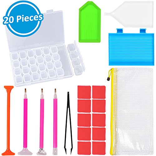 Dearkays 20 Pieces Diamond Painting Tools 5D DIY Diamond Painting Accessories Diamond Cross Stitch Kits with 28 Slots Diamond Embroidery Box for Adults or Kids by INFELING (20 Pieces)