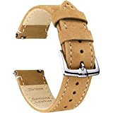 B&E Quick Release Watch Bands Strap Top Grain Genuine Leather - Nubuck Style Wristbands for Traditional & Smart Watch - 18mm 20mm 22mm Width Available -LTBNWT22