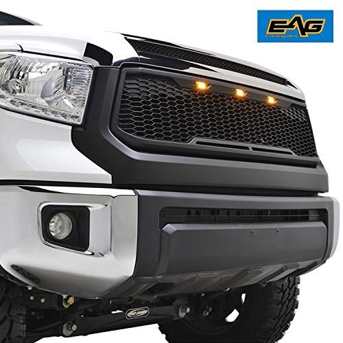 EAG Replacement ABS Grille Upper Front Hood Grill - Matte Black - with Amber LED Lights Fit for 14-19 Toyota Tundra