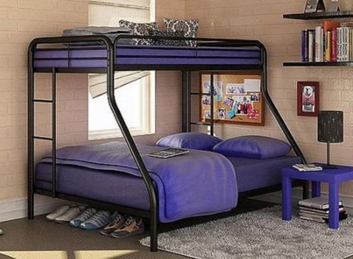 Eight24hours Twin over Full Bunk Beds Metal Bunkbeds Kids Teens Dorm Bedroom Furniture + FREE E-Book