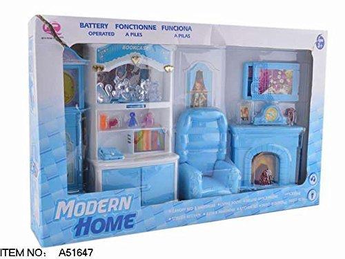 MeeYum Kids Pretend Play Mini Doll Living Room Furniture Play Set Blue