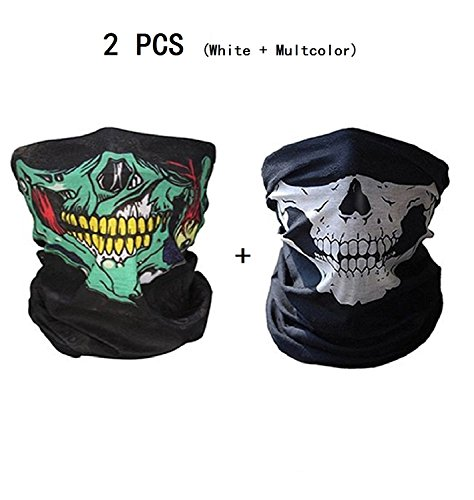 2 Pcs Halloween props Scary props Dust-Proof Windproof Face Mask Skeleton Skull (Scary Halloween Face)