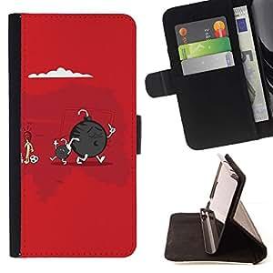 For HTC Desire 820 Case , Cute Funny Bomba & Son- la tarjeta de Crédito Slots PU Funda de cuero Monedero caso cubierta de piel
