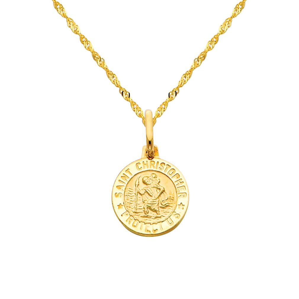 14k Yellow Gold Religious Saint Christopher Medal Pendant with 1.2mm Singapore Chain Necklace - 18''