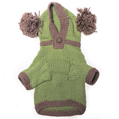 Dog in the Closet, The Taylor - Green Hand Knit Dog Hoodie, Size S by Dog in the Closet