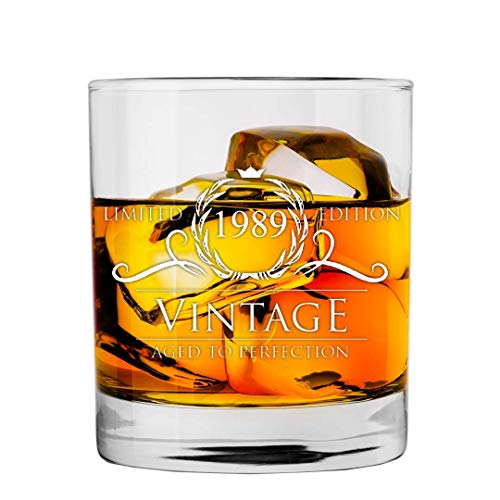 1989 30th Birthday Gifts for Women and Men Whiskey Glass | Funny Vintage 30 Year Old | Anniversary Gift Ideas Him Her Dad Mom Husband Wife | 11 oz Whisky Bourbon Glasses | Party Supplies Decorations ()