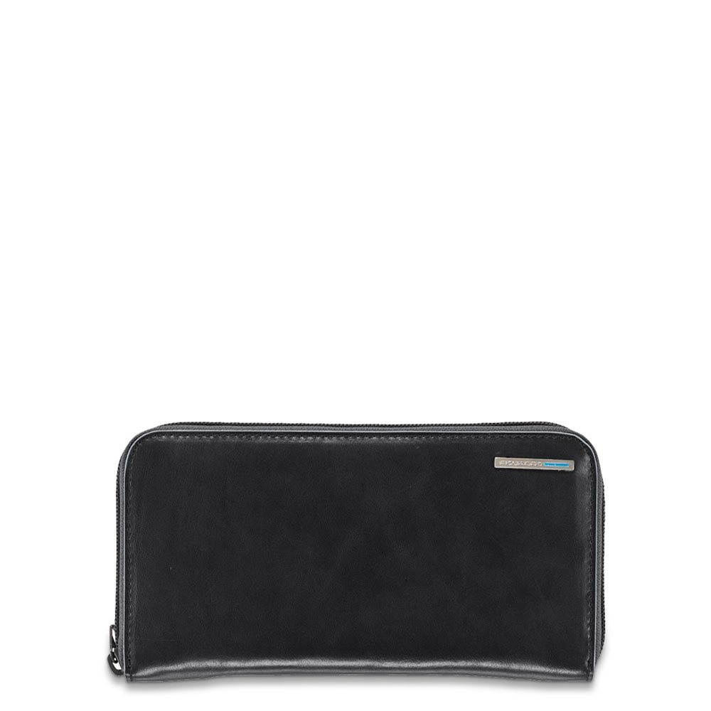 Piquadro Woman's Wallet In Leather, Black, One Size
