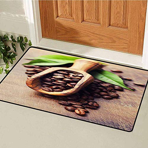 GloriaJohnson Coffee Front Door mat Carpet Beans on The Old Table Morning Drink Waking Up Rustic Theme Leaves Beans Machine Washable Door mat W23.6 x L35.4 Inch Pale Caramel Green