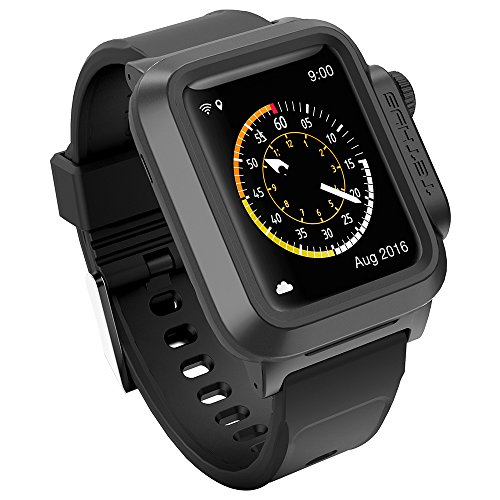 TETHYS WATERPROOF CASE for Apple Watch 42MM ONLY (Updated) (Sport/Edition 2015) - Black EcoWarden [Special Edition Protective Rugged Frame]