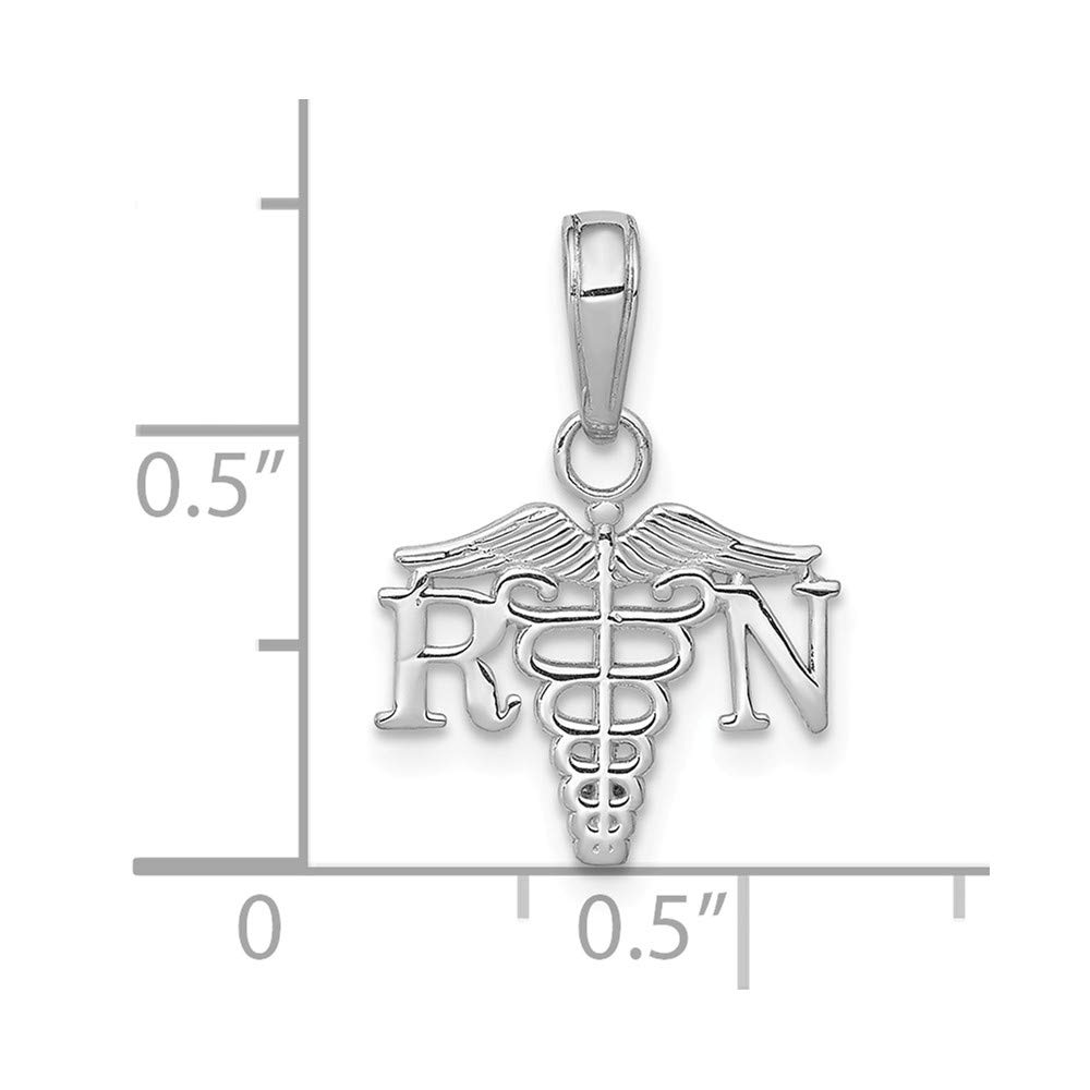 FB Jewels 14K White Gold White Registered Nurse RN and Caduceus Textured and Wide Nurse Pendant