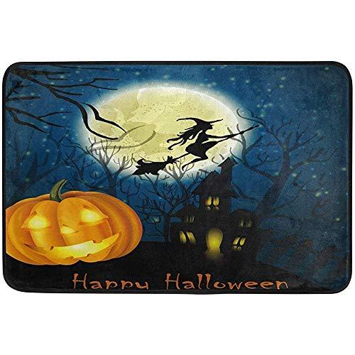 ha-fullshop Happy Halloween Witch Pumpkin Full Moon Doormat