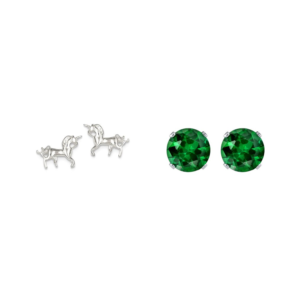 Sterling Silver Unicorn Mini Earrings and a pair of Green 4mm CZ Stud Earrings