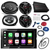 JVC KWV420BT 7' Touch Screen Car CD/DVD Receiver Bundle Combo With 2x Dual 6.5' 2-Way And 2x 6x9' Inch 4-Way Coaxial Speakers + 800-Watt 4-Channel Amplifier With Install Kit + Enrock AM/FM Antenna