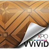 """VViViD Parquette Inlay Mosaic Wood Grain Faux Finish Textured Vinyl Wrap Contact Paper Film for Home Office Furniture DIY No Mess Easy to Install Air-release Adhesive (1ft x 48"""")"""