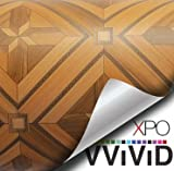 VVIVID Parquette Inlay Mosaic Wood Grain Faux Finish Textured Vinyl Wrap Contact Paper Film for Home Office Furniture DIY No Mess Easy to Install Air-release Adhesive (6ft x 48'')