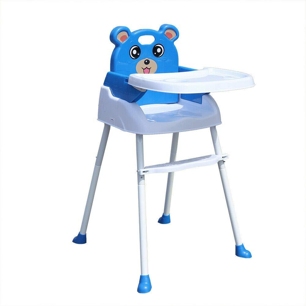 Blau 4 in1 Kinderhochstuhl Kinder Verstellbare Treppenhochstuhl Baby hochstuhl F/ütterungsstuhl mit Tablett