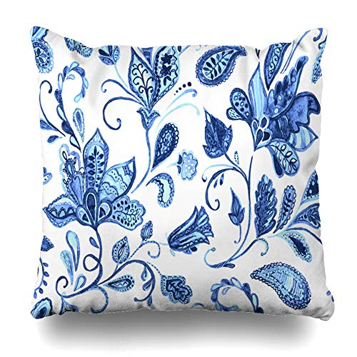 Ahawoso Throw Pillow Covers Cases Chinoiserie Navy Abstract Paisley Watercolor Floral Pattern Flowers Ottoman Blue Arabesque Arabian Home Decor Cushion Square Size 18