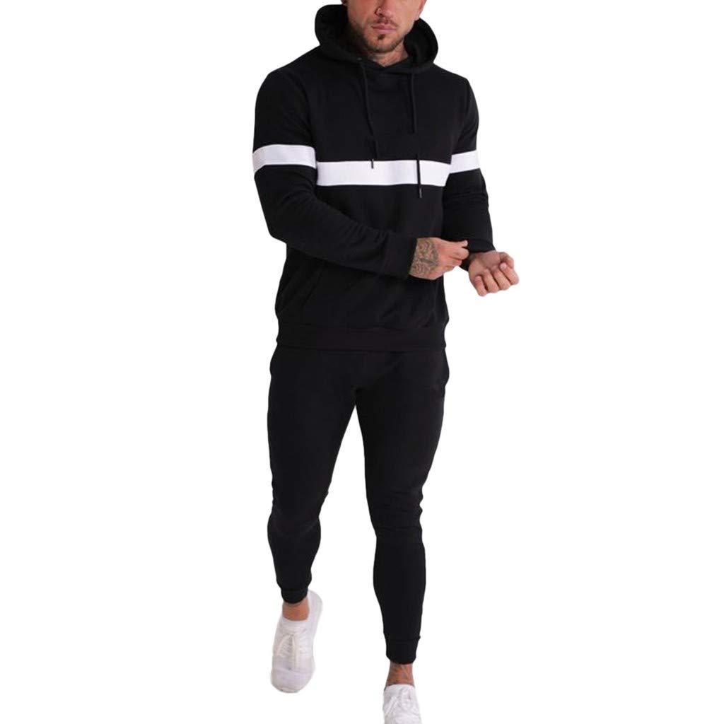 Beautyfine 2019 Mens Patchwork Suit Tracksuit Autumn Winter Sweatshirt Tops+Pants Sets Sports
