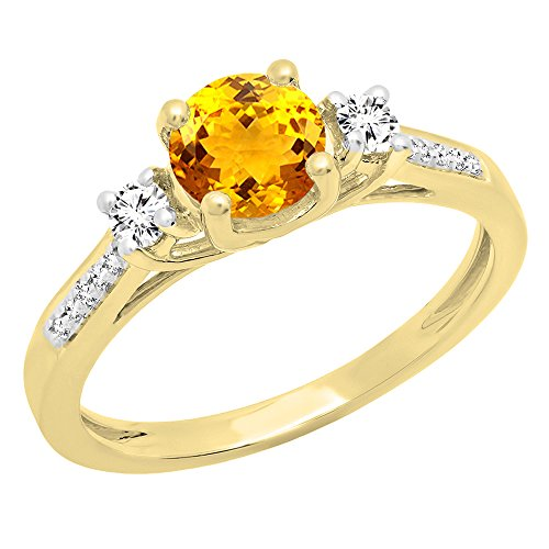 Dazzlingrock Collection 18K 5 MM Round Citrine, White Sapphire & Diamond Ladies Engagement Ring, Yellow Gold, Size 6