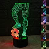 SZLTZK Christmas Gift Dual Color 3D LED Football & Feet Night Light 7 Color Touch Switch with Battery Compartment USB Cable Table Desk Baby Nursery Lamp Home Decor Birthday Present for Kids Boy Girl