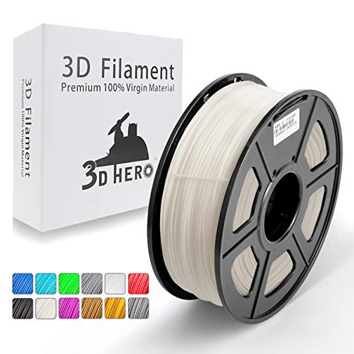 Ivory White ABS 3D Printer Filament 1.75 mm 1 kg Spool(2.2lbs), 3D HERO ABS Filament Dimensional Accuracy +/- 0.02 mm,NO Clogging