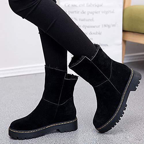 Bozevon Plates Bottes Dames Femme Chaussures Outdoor Hiver Neige Antidérapant Bottines Talon Noir Fourrées De nnzBZ