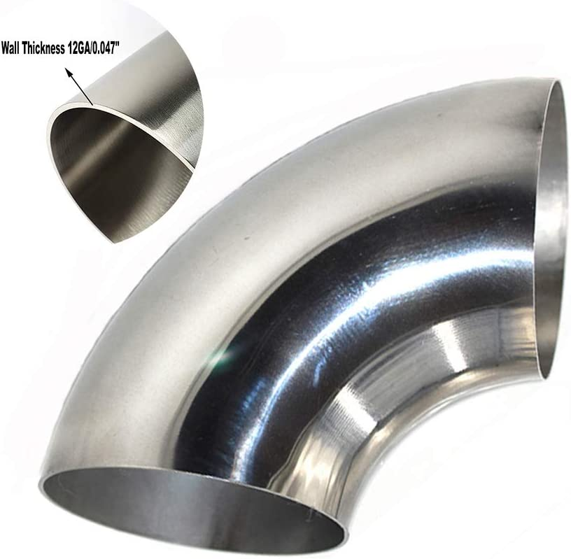 2.5 Stainless Steel Elbow 90/° SS304 Car Modified Intake//Exhaust Pipe etc 1.2mm 18GA//0.047 Wall -1D//2.5 Curvature Radius No Leg