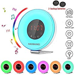 HAOBAIMEI Wake Up Light Sunrise Alarm Clock,Natural light Alarm Clock, Sunrise/Sunset Simulation, 6 Nature Sounds, 7 Colors LED Night Light with Smart Snooze Function, Touch Control and USB Rechargeab