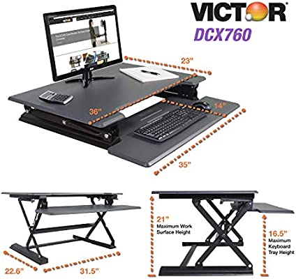 Victor DCX760 - Escritorio con soporte ajustable en altura con ...