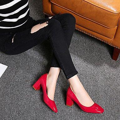 Talones de las mujeres de primavera y verano Otro de cuero para oficina y del partido Carrera y vestido de noche Chunky talón Negro Rojo Rosa Otros Pink