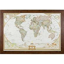 Craig Frames Wayfarer, Executive World Push Pin Travel Map, Dark Walnut Frame and Pins, 24 by 36-Inch