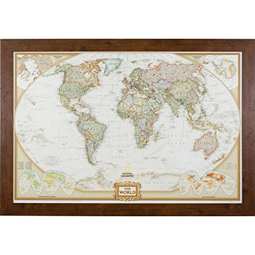 Craig Frames Wayfarer, Executive World Push Pin Travel Map, Dark Walnut Frame and Pins, 24 by (Traditional Dark Walnut Finish Wood)