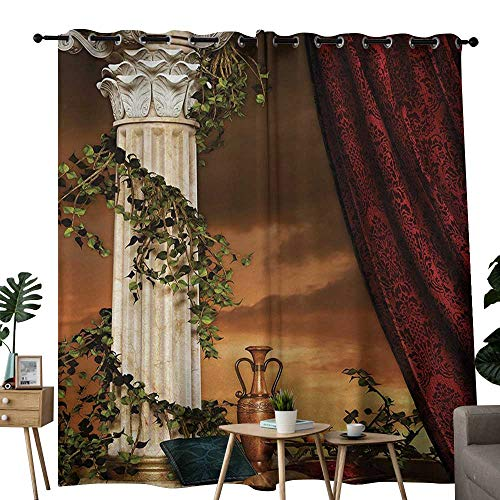 NUOMANAN Grommet Curtains Gothic,Greek Style Scene Climber Pillow Fruits Vine and Red Curtain Ancient Goddess Sunset,Multicolor,Blackout Draperies for Bedroom Window 84