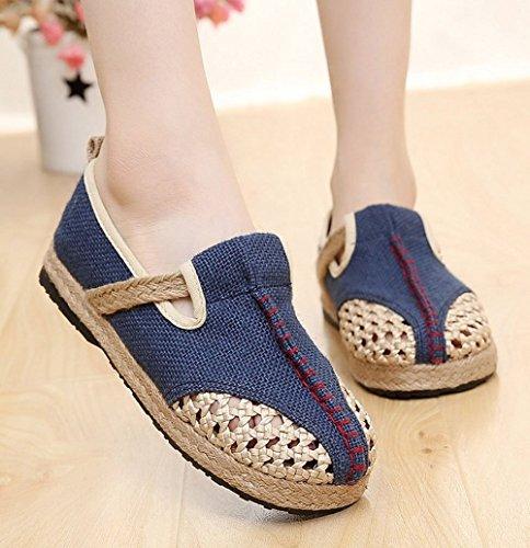 Lazutom - Sandalias de vestir de mezcla de lino para mujer Azul