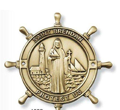 Medal Patron Brendan Saint - Saint Brendan the Navigator Boat Plaque Gold Finish. Patron Saint of Protectors of Sailors/ Mariners