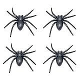 Tinksky 4pcs Plastic Halloween Spider Practical Jokes Props Realistic Rubber Spider Halloween Party Favor