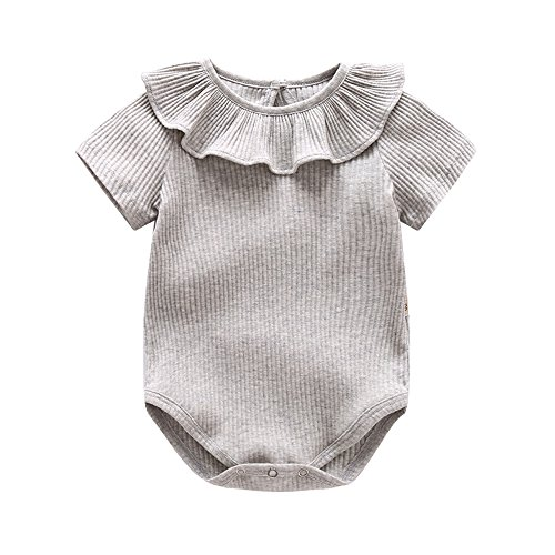Ding Dong Baby Girl Summer Princess Ruffle Solide Romper