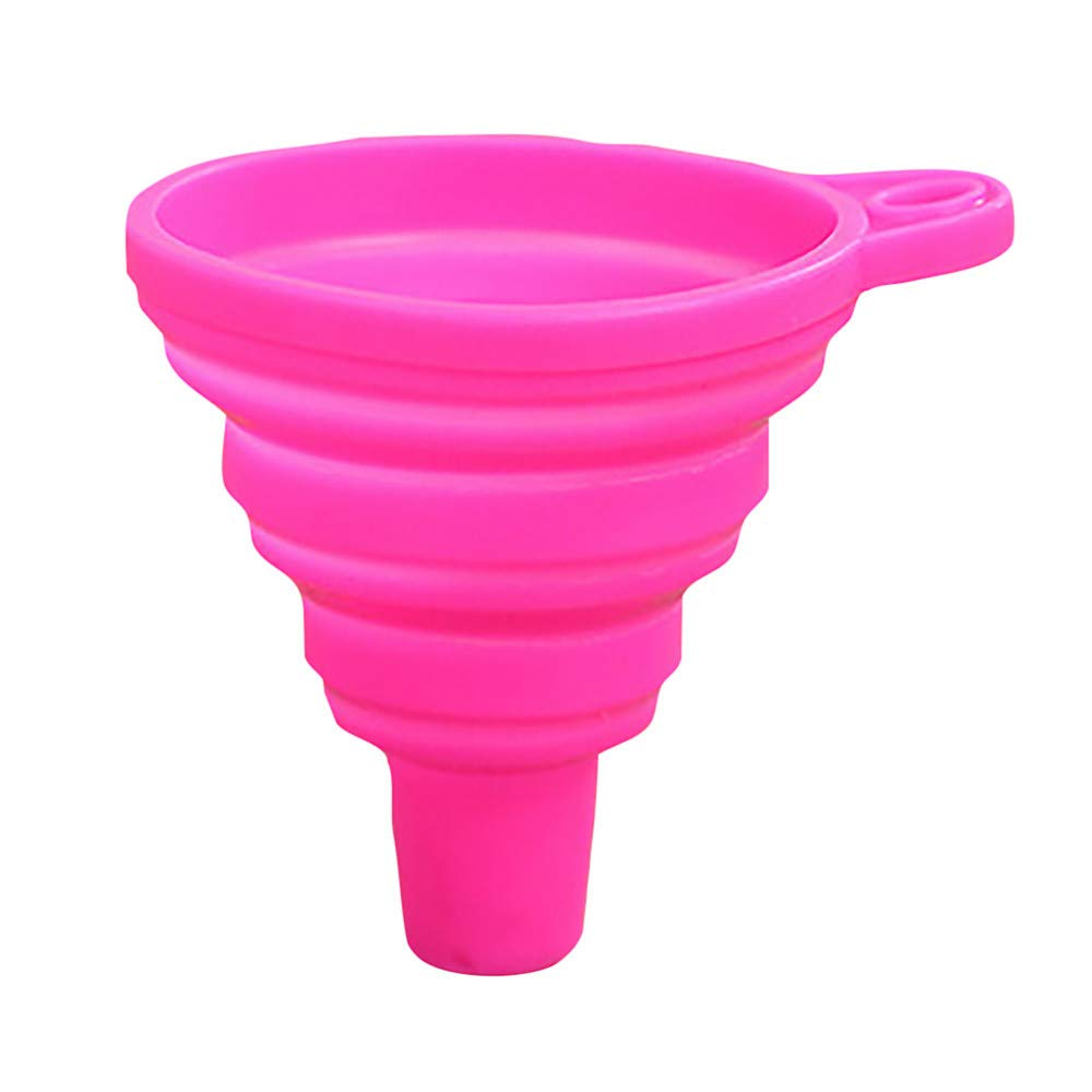 Connia Silicone Gel Practical Collapsible Foldable Funnel Hopper Kitchen Tool Gadget (Hot Pink)