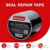 XFasten Waterproof Flex Seal Repair and Leak Shield Tape, Black, 4-Inch x 10-Foot, Weatherproof Water Barrier Tape for Chimney, Roof, Boat, and HVAC Hose Repair